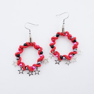 Black bead hoop earrings with red rope and stars