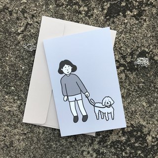 greeting card | walking with poodle