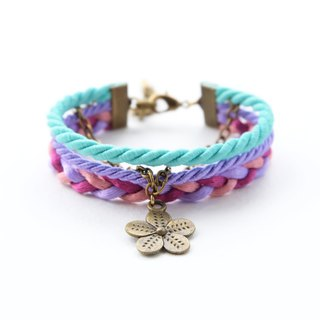 Flower layered rope bracelet in Matte fresh mint / purple
