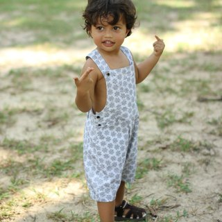 Boy overalls black and white Ethnic design