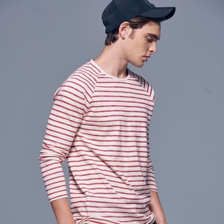 Stone'As Basic Striped long-sleeved Tee In Red / 红色 连袖 长 T-shirt
