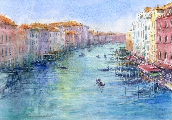 Watercolor picture Grand Canal view