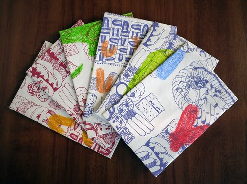 Handmade Envelopes 6 packs with Hand Screen Printed Original Illustration of Food