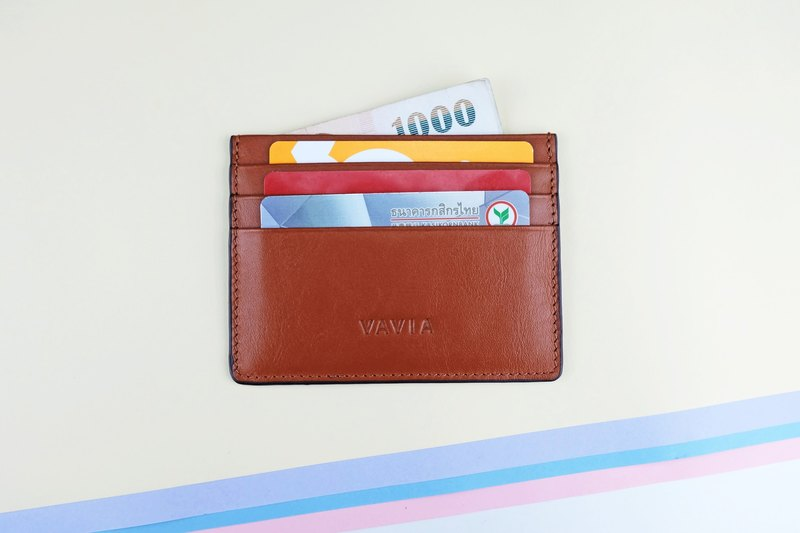 """Red Brown"" Cow Leather Card Holder"