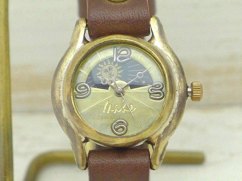 Handmade watches HandCraftWatch Lady's Brass Sun & Moon [362 S & M GD / BR]