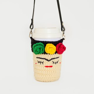 Crochet Cozy Cup - Frida Kahlo No.2 / Coffee Sleeve, Starbuck.