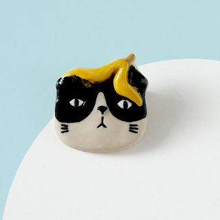 Purr- Cat with Banana - Brooch of porcelain