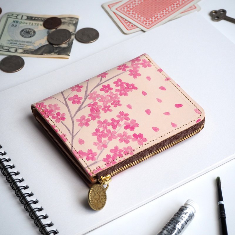 L-shaped zipper wallet / Sakura ILL-1157
