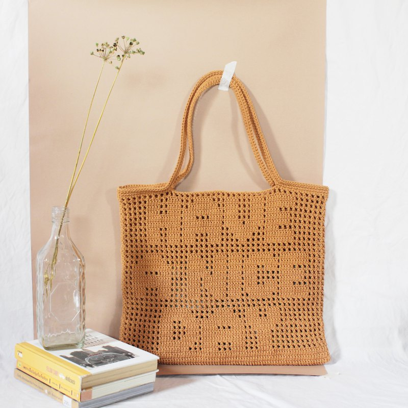 HAVE A NICE DAY ,Personalized Quote Crochet Tote Bag ,Crochet Bag ,Handmade Bag
