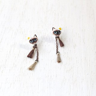 Siamese cat with Plumeria flower earrings, Cat Dangle & Drop Earrings