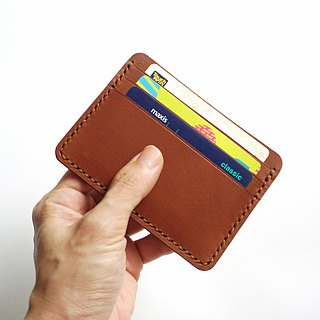 Credit Card Wallet/ Card Organiser in Brown Leather (Straight Cut)