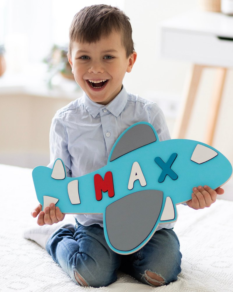 Wooden Plane for Baby Boy Personalize Gift Name Puzzle Toddler Gift Idea Boy