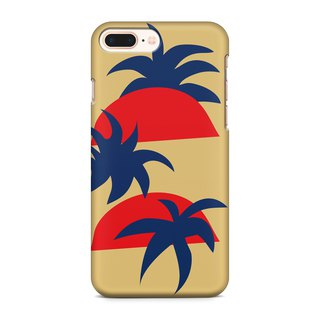 Sunrise and palm trees- mustard Phone case