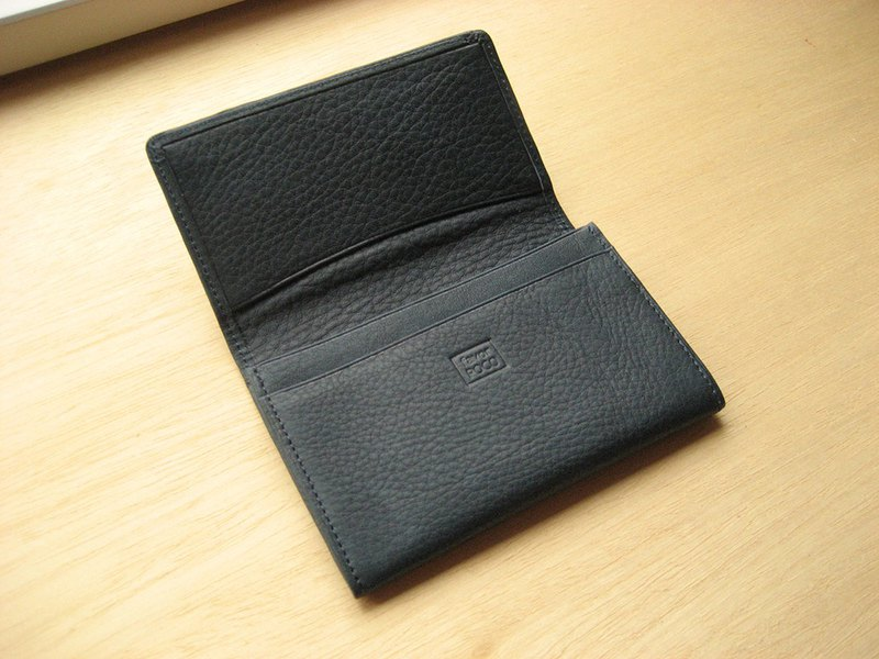 Leather Business Card Holder Valencia Navy DARK BLUE