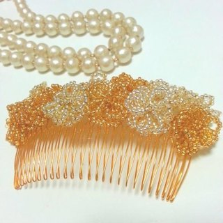 Flower beads comb (gold) L size