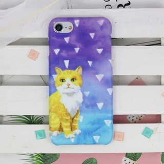 水彩 猫 磨砂 手机壳 硬壳 保护壳 iPhone X 8 8+ 7 7 Plus Samsung Galaxy S9 Sony XZ XZ1 oppo A77