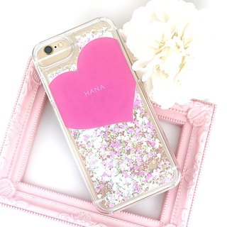 Name put heart print glitter smart case