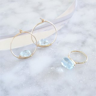 Goody Bag - 14kgf*Aquamarine wrapped ring + pierced earring