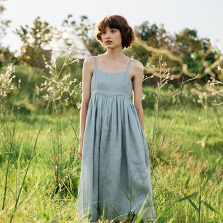 Camisole Linen Dress with Back Shell Button in Smoke Blue