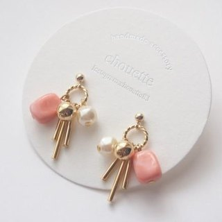 [14kgf] Gold Bar & acrylic earrings (Coral Pink)