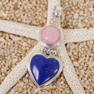 Heart's lapis lazuli and pink opal pendant top