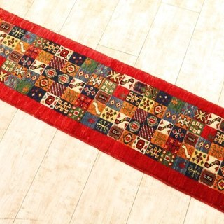 Hand-woven carpet handmade rug Elongated Runner Type Red Kilim