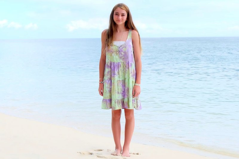 Tropical uneven dyed tiered dress <Muscat grape>