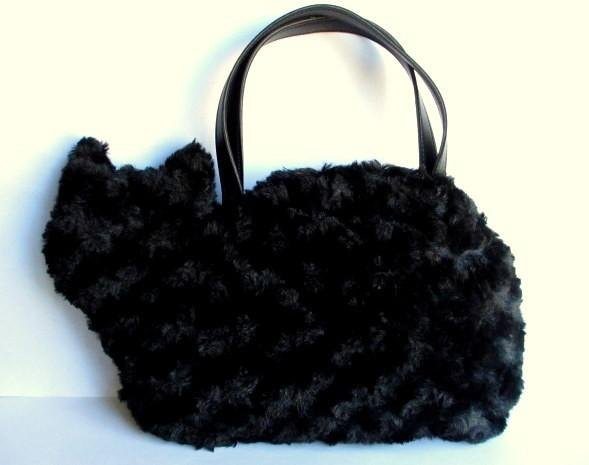 Cat Bag Fluffy Fur Puffin Black Cat