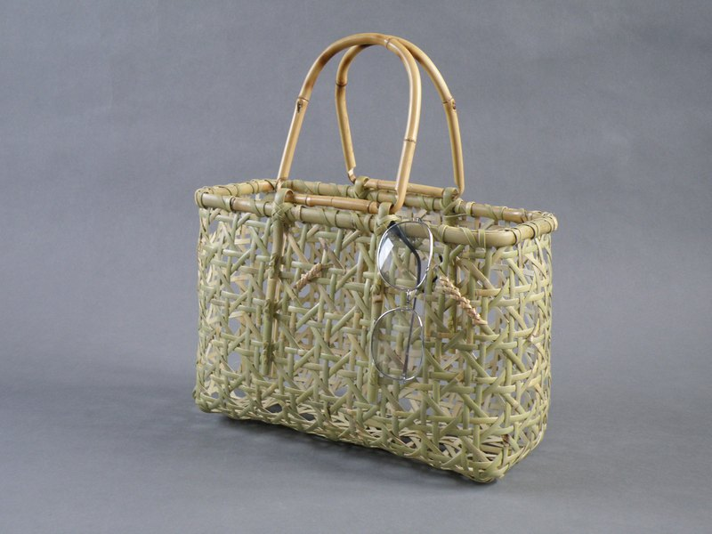 Bamboo cage basket bag Eight braid roof bamboo Eco life