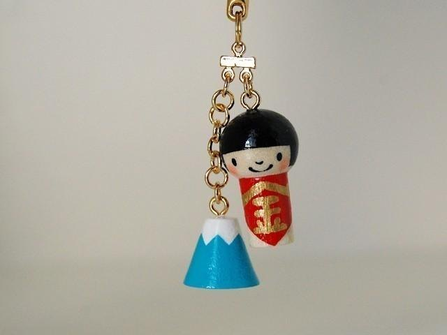 * Mini Kokeshi * Kintaro and Mount Fuji *