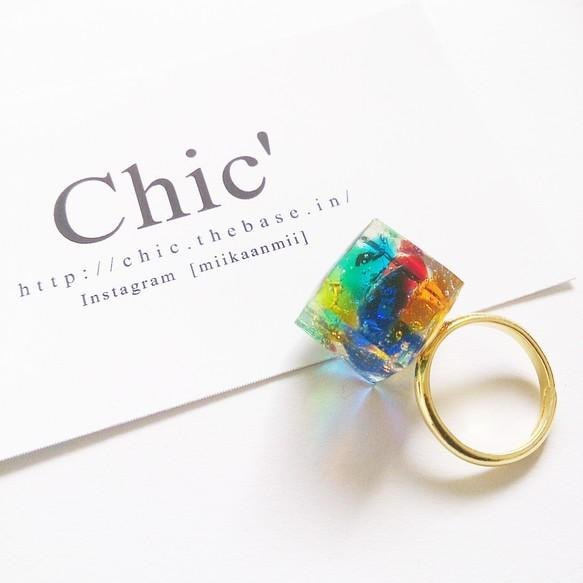 [Kaleidoscope] Ryukyu glass cube ring mix