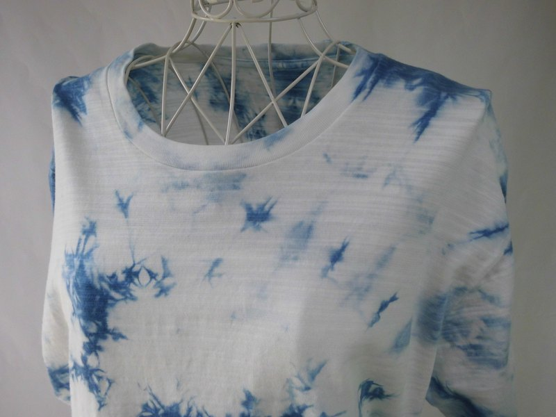 Indigo dyeing · slightly thick tie-dyeing T-shirt _ 1 · droplet of wave · L