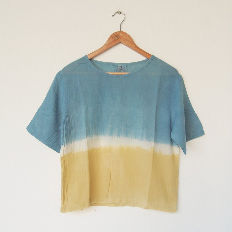 Indigo x Yellow shirt / natural dye