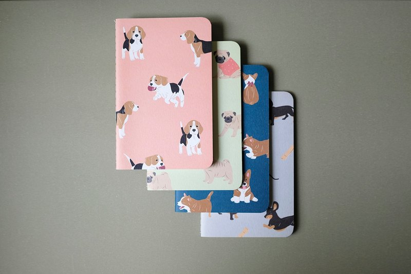 Set of 4 Pocket Notebook, Corgi Pocket Notebook, Dachshund Pocket Notebook,Corgi Pocket Notebook, Beagle Pocket Notebook, Pug Pocket Notebook, Navy Notebook, Blue Pocket Notebook, Pocket Notebook, Small Notebook, Handmade Notebook, Dog Notebook, NotepadPug