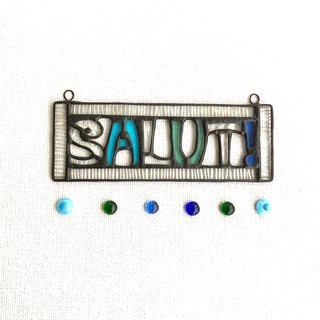 Stained glass door plate SALUT! Light blue