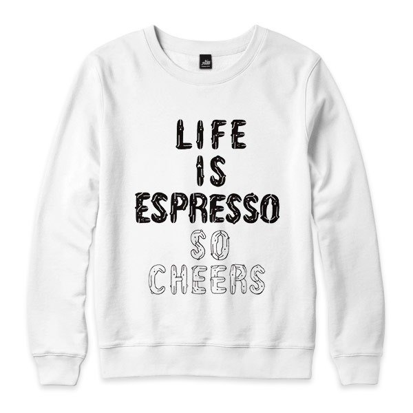 LIFE IS ESPRESSO SO CHEERS - 白 - 中性版大学T