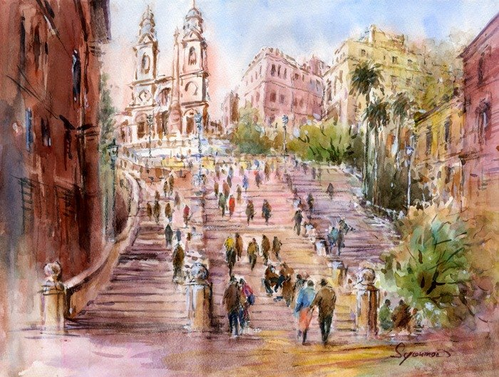 Watercolor painting Homage Spanish Steps / Rome