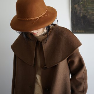 Coffee cloak-neck double-faced wool coat