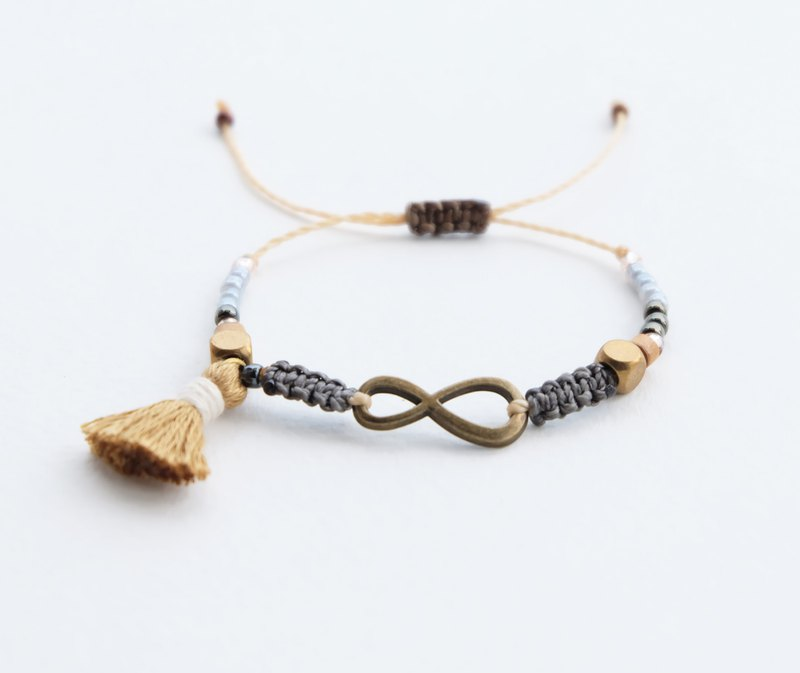 Brass infinity dark gray with coffee brown tassel adjustable bracelet