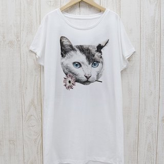 ronronCAT One Piece Tee Here you go (White) / RPT 033 - WH