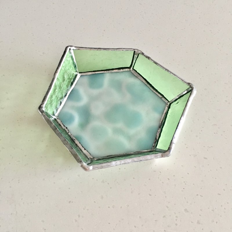 Jewelry tray tray Beehive aqua glass Bay View