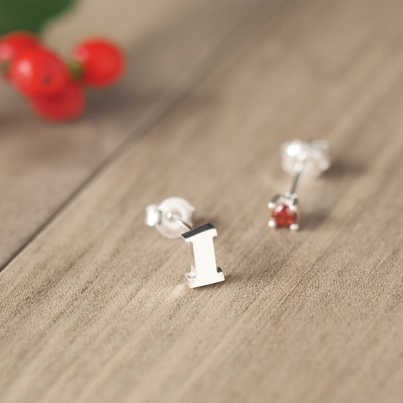 Numbers & January Birthstone Garnet Earrings Silver 925