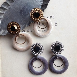 1940s Classic Vintage Button × Velor Ring Earrings OR Pain-resistant Brass Ear Clip Ear Needle / Ear Incl
