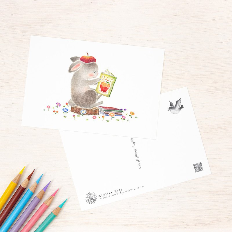 "Set of 5 sheets. Like a picture book. Postcard ""Pico of the favorite rabbit for reading"" PC-418"