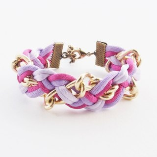 Purple-pink braided with chain bracelet