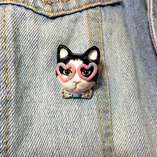 Party Cat Brooch, Tuxedo cat brooch, Tuxedo cat pin, cat lover gifts