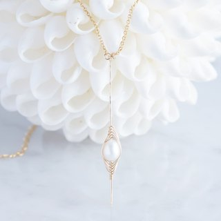 【Tsubomi】 14 KGF Necklace - White Pearl -