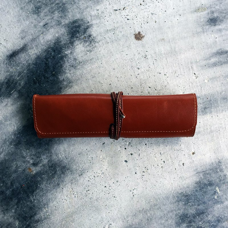 Leather pencil roll case/ artist roll 经典手工牛皮笔袋