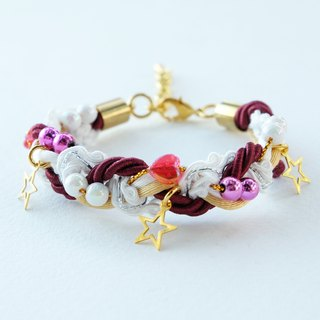 Christmas gift collection ,Red/White/Gold braided rope and beads bracelet with stars