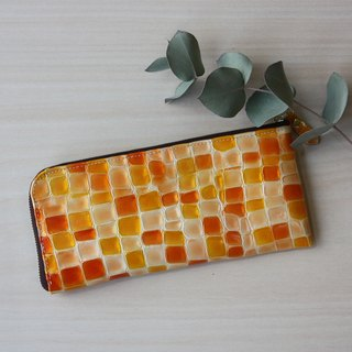 Slim long wallet with stained glass pattern Orange
